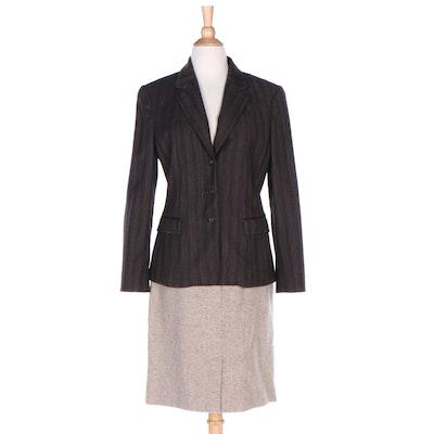 Elie Tahari Striped Wool Blend Jacket and Weekend Max Mara Wool Skirt