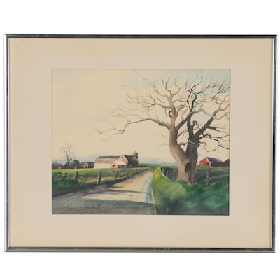 James D. Beck Watercolor Painting of a Country Road, 1970