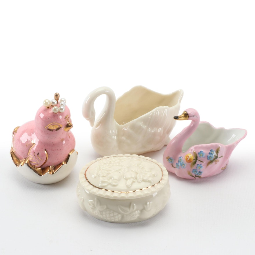 Lenox, Noritake and Other Swan Form Bowls, Hat Pin Holder and Trinket Box