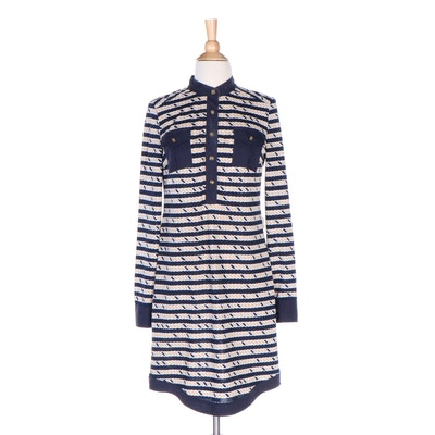 Tory Burch Rope Print Shift Dress with Navy Blue Trim