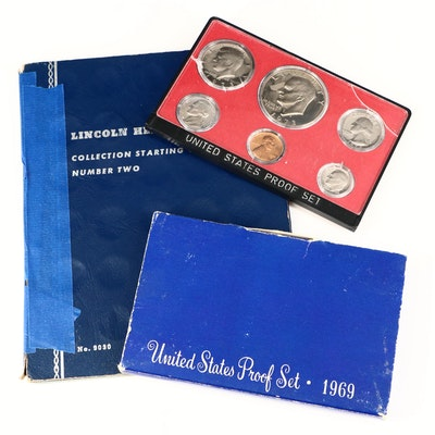 Whitman Binder of Lincoln Cents and Two U.S. Mint Proof Sets