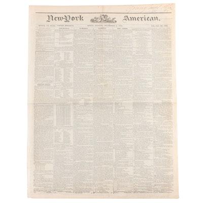 """""""New-York American"""" Newspaper Vol. XXI #7389, 6 September 1839"""