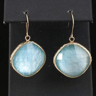 14K Gold Quartz and Mother of Pearl Doublet Drop Earrings