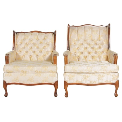 Pair of Provincial Style Brocade Button Tufted Armchairs, Mid-20th Century