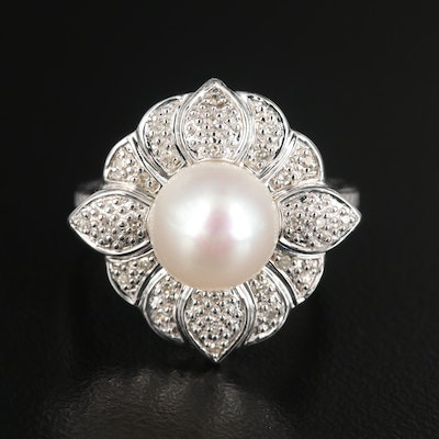 Sterling Silver Pearl and Diamond Floral Ring