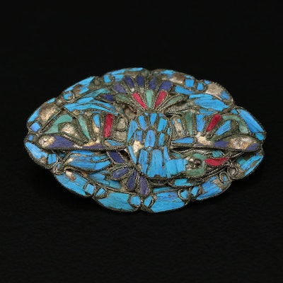 Antique Kingfisher Feather Brooch