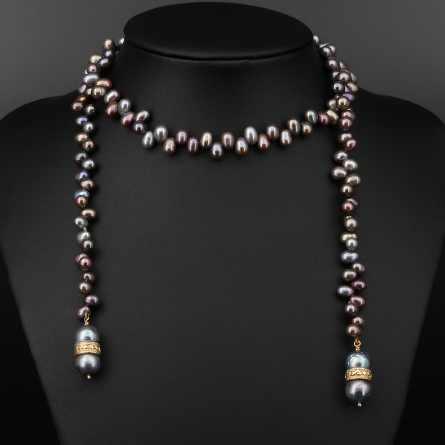 14K Gold Pearl Lariate Necklace
