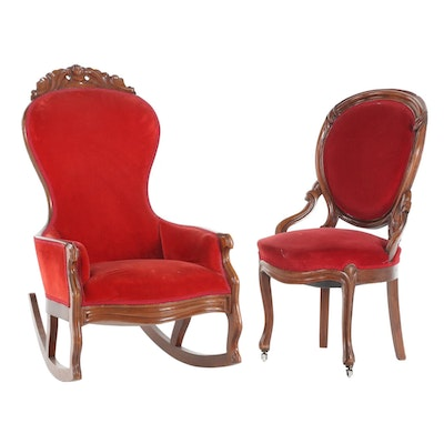 Two Victorian Walnut Velvet-Upholstered Parlor Chairs, Late 19th Century