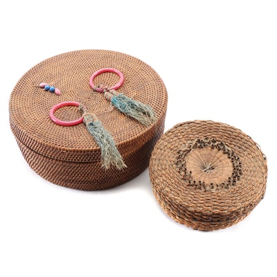 Chinese Handwoven Sewing Baskets with Glass Beads and Rings, 20th Century