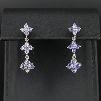 Sterling Silver Tanzanite Drop Earrings