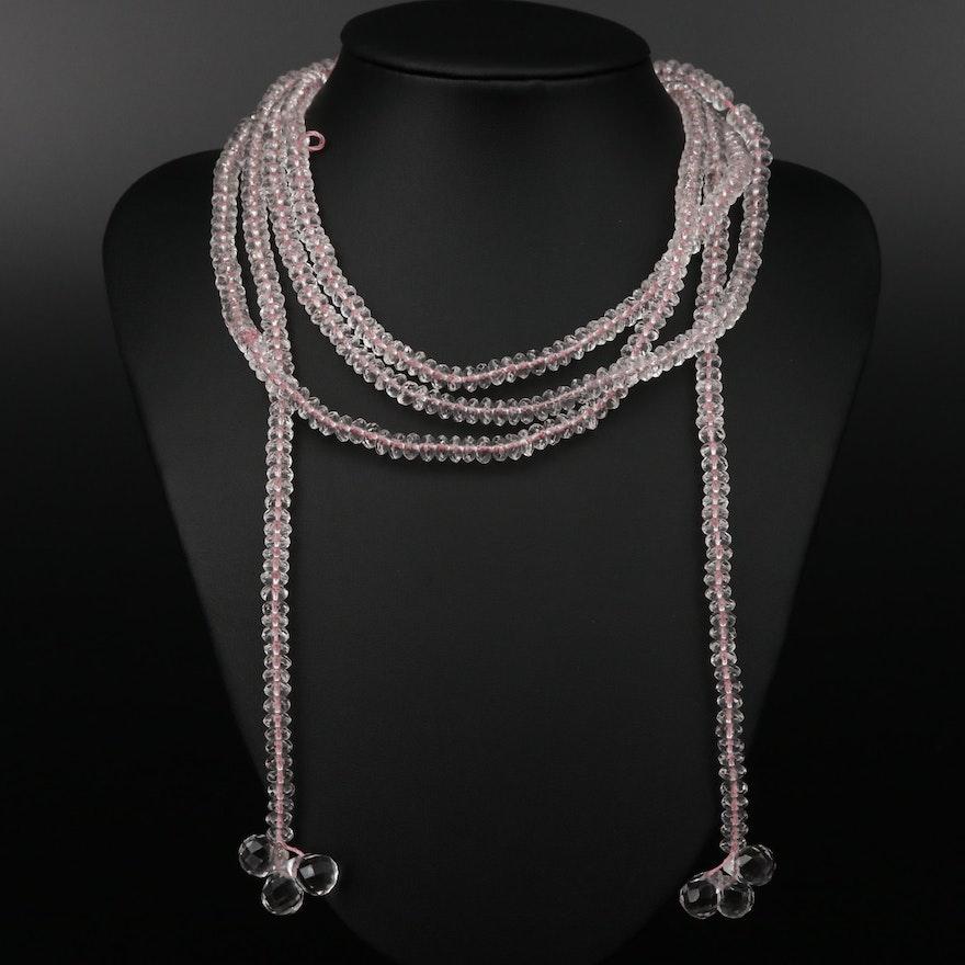 Rock Quartz Crystal Beaded Lariat Necklace