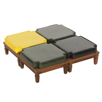 Black and Yellow Vinyl and Wood Stackable Footstools, Mid-20th Century