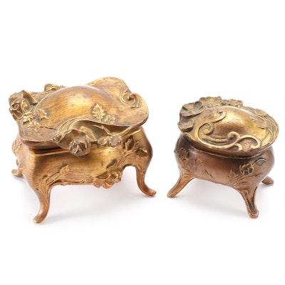 Art Nouveau Gilt Metal Vanity Caskets, Early 20th Century