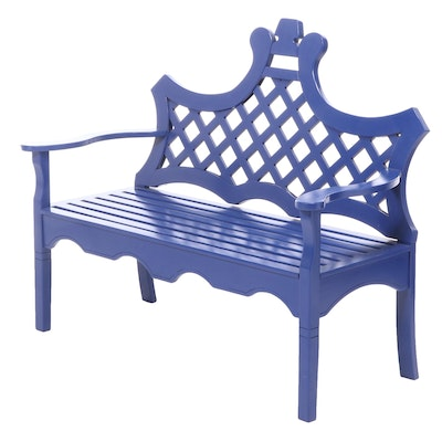 """Contemporary """"Luciana"""" Blue-Painted Wood Bench"""