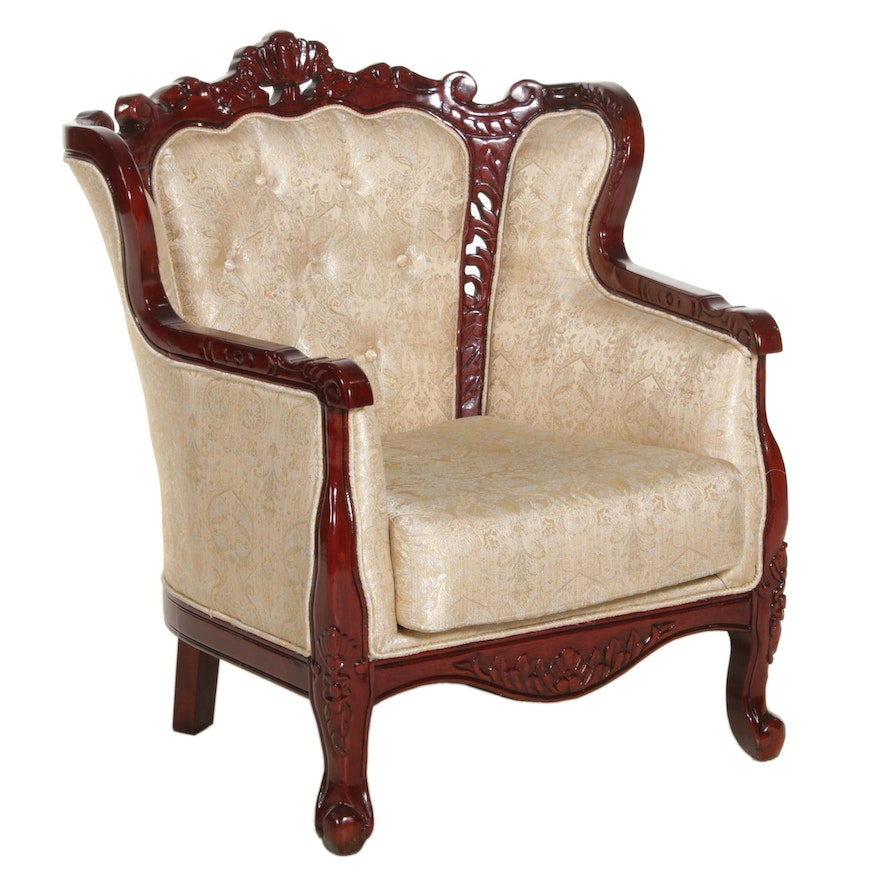 Rococo Revival Paisley Upholstered Armchair