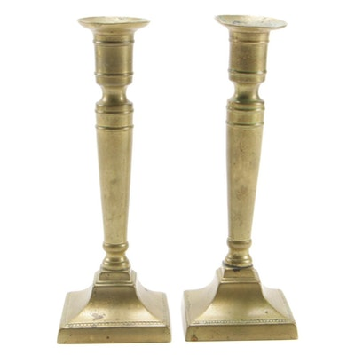 Pair of Brass Candlesticks, Mid to Late 20th Century
