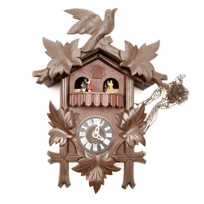 "Thorens Movement ""Bleu Danube"" Cuckoo Clock with Three Weights, Mid-20th Century"