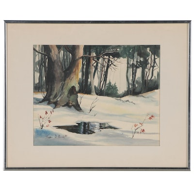 James D. Beck Watercolor Painting of a Winter Forest, 1970