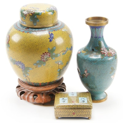 Chinese Cloisonné Ginger Jar with Stand, Vase, and Trinket Box