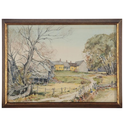Peter Robinson Watercolor Painting of a Farm