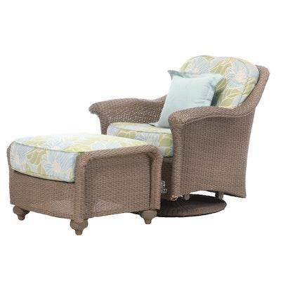 "Lloyd Flanders ""Oxford"" All-Weather Wicker Patio Swivel Glider Chair and Ottoman"