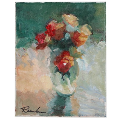 Sally Rosenbaum Oil Painting of Floral Still Life