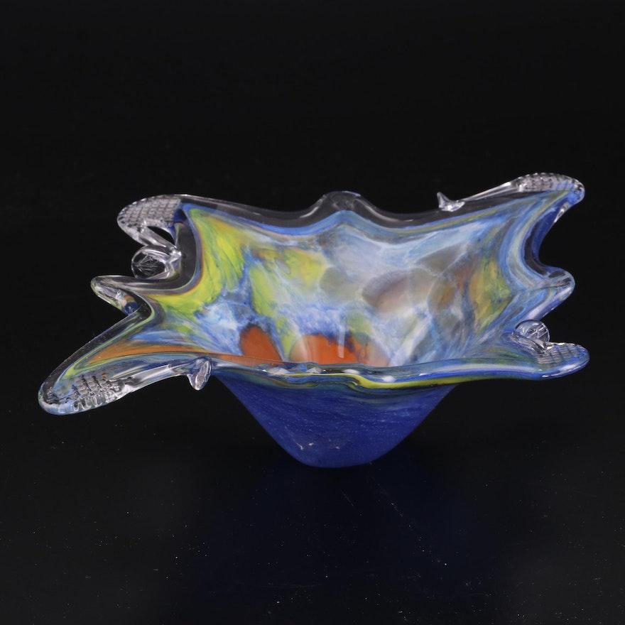 Multicolor Art Glass Decorative Bowl, Late 20th Century