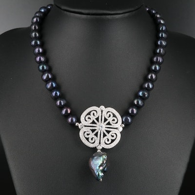 Sterling Silver Cultured Pearl and Cubic Zirconia Necklace