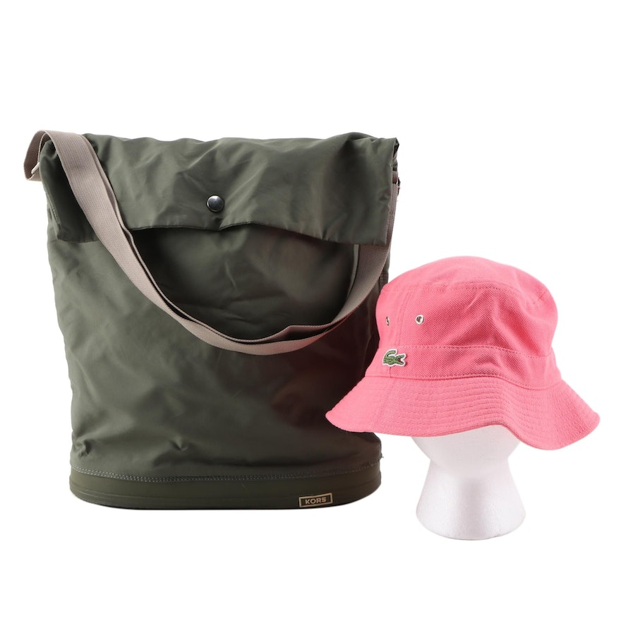 Lacoste Pink Cotton Bucket Hat and KORS Michael Kors Olive Green Nylon Bag