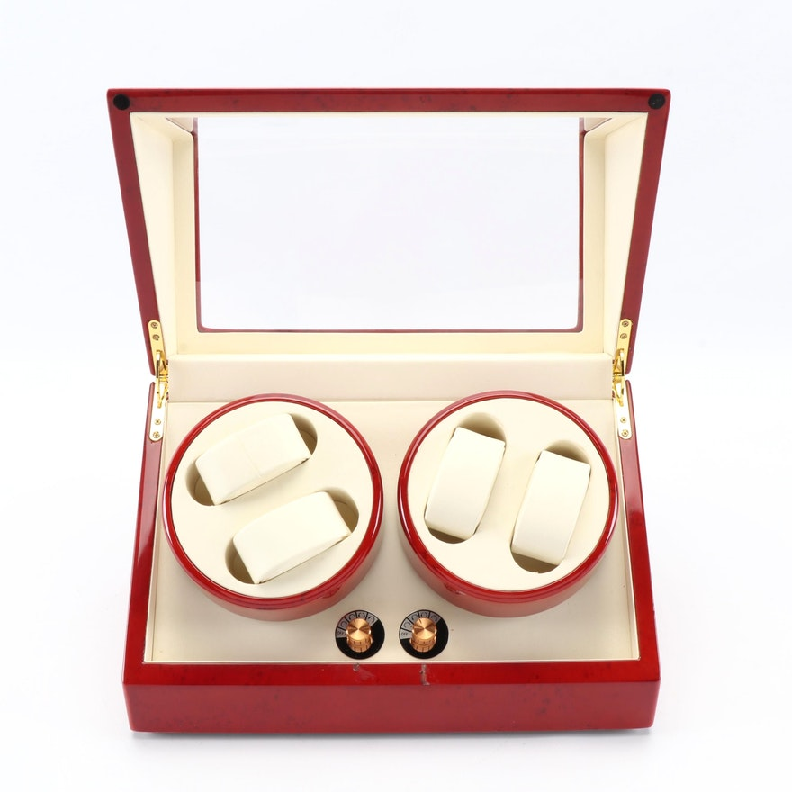 Quad Watch Winder with High Gloss Cherry Wood Finish