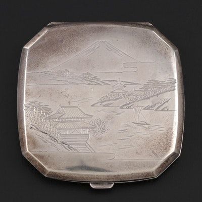 Japanese Chased Sterling Silver Compact, Early to Mid 20th Century