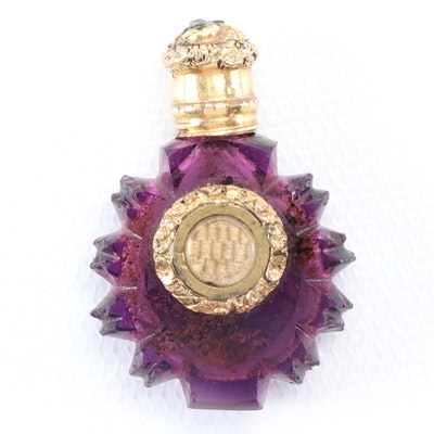 Victorian Amethyst Cut Glass Vinaigrette with Woven Hair Reserve