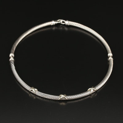 "David Yurman ""Cable Classic"" Sterling Choker with 14K ""X"" Accents"