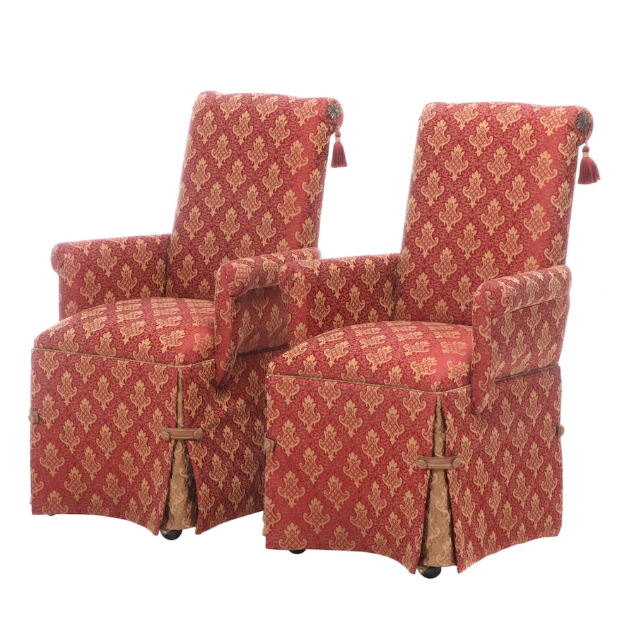 Pair of Custom-Upholstered Rolling Armchairs