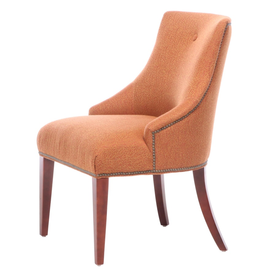 Contemporary Custom-Upholstered Cherrywood Accent Chair