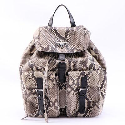 Prada Python and Black Leather Double Pocket Medium Backpack