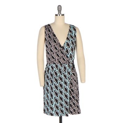 Diane von Furstenberg Moriko Silk Print Faux Wrap V-Neck Sleeveless Dress