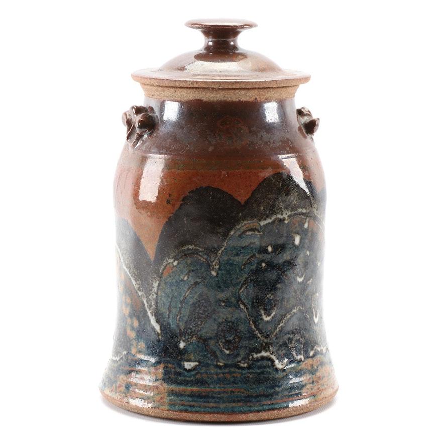 Signed Salt Glazed Stoneware Cookie Jar, Late 20th Century