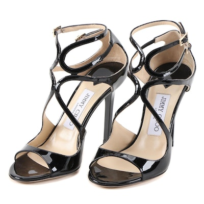Jimmy Choo Lang Black Patent Leather Stiletto Dress Sandals