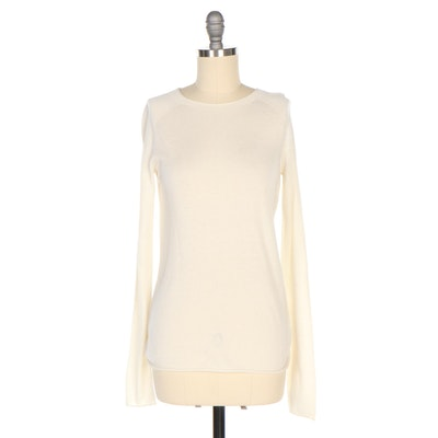 Vince Silk and Cashmere Long Sleeve Sweater in Ivory