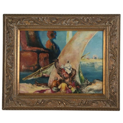 H.H. Tallman Figural Oil Painting
