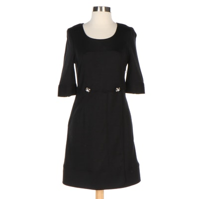 See by Chloé Black Wool Dress with Rhinestone Button Accents