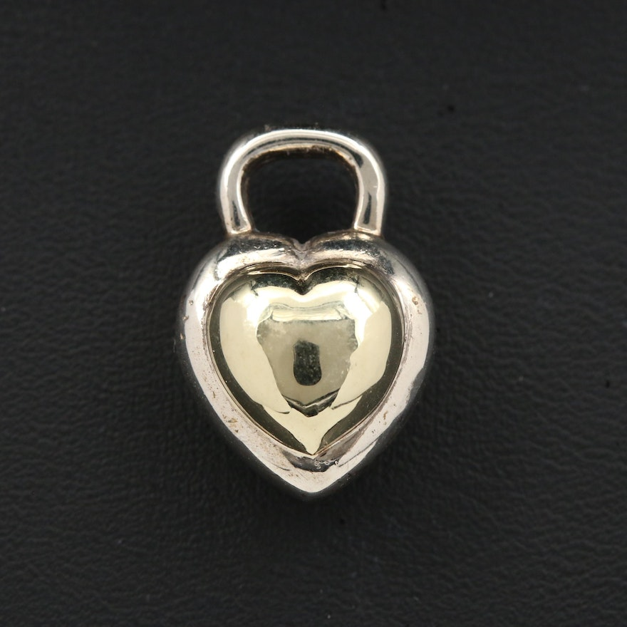 David Yurman Sterling Silver Heart Pendant with 14K Gold Accent