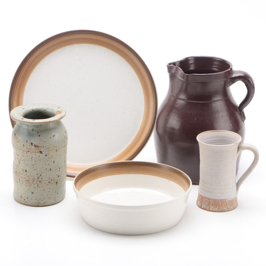 """Mikasa """"Buckskin"""" Bowl and Charger Plate with Other Earthenware Pottery"""