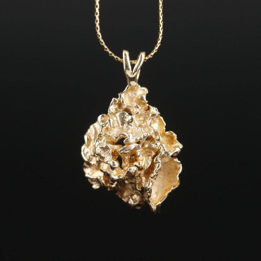 14K Nugget Style Pendant Necklace
