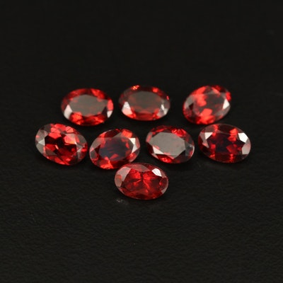 Loose Oval Faceted 6.95 CTW Garnet Gemstones