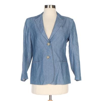 Theory Blue Linen Blend Kiersten Jacket