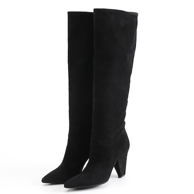 Barneys New York Black Suede Knee-High Boots