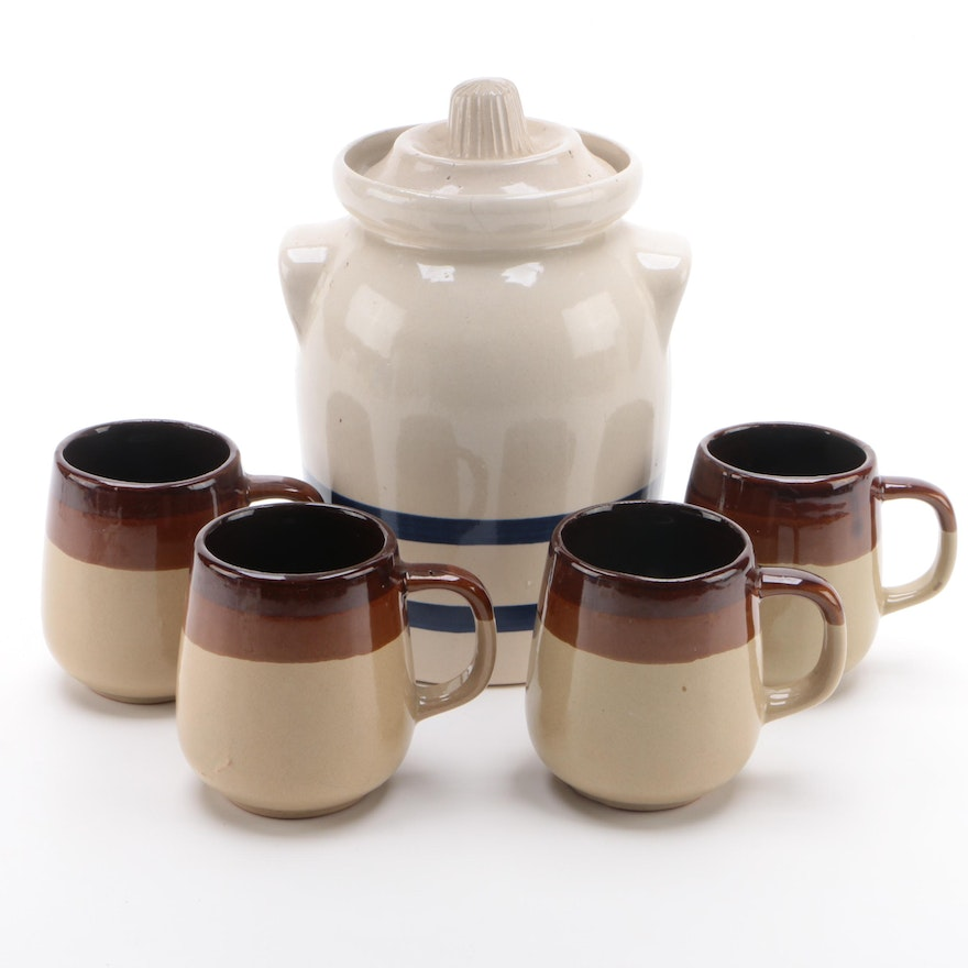 Robinson Ransbottom Cookie Jar with Earthenware Coffee Cups, Mid-20th C.