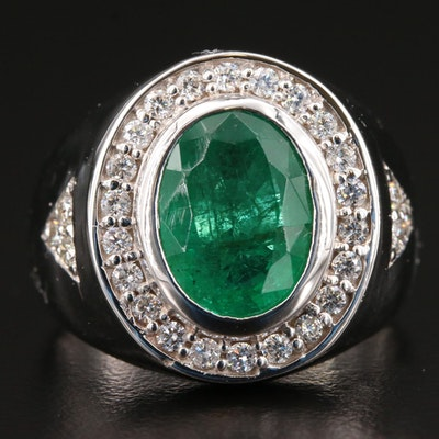 14K White Gold 3.64 CT Emerald and Diamond Ring